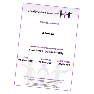 Level 1 Food Hygiene & Safety Certificate