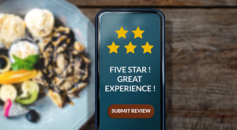 A positive internet review shows the interlinking of food and social media.